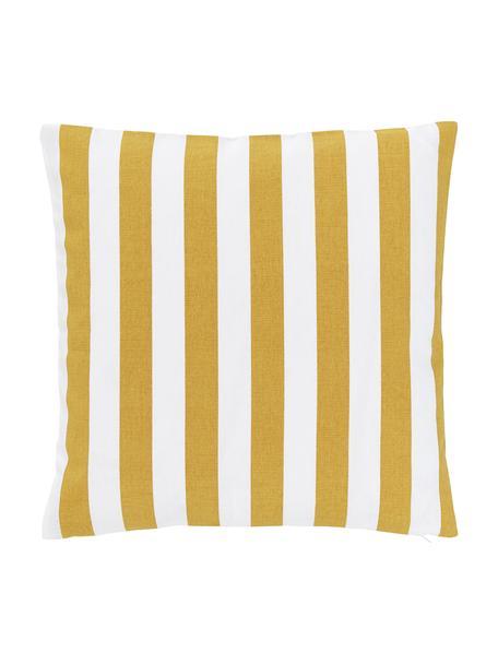 Gestreifte Kissenhülle Timon in Gelb/Weiß, 100% Baumwolle, Gelb, Weiß, 40 x 40 cm