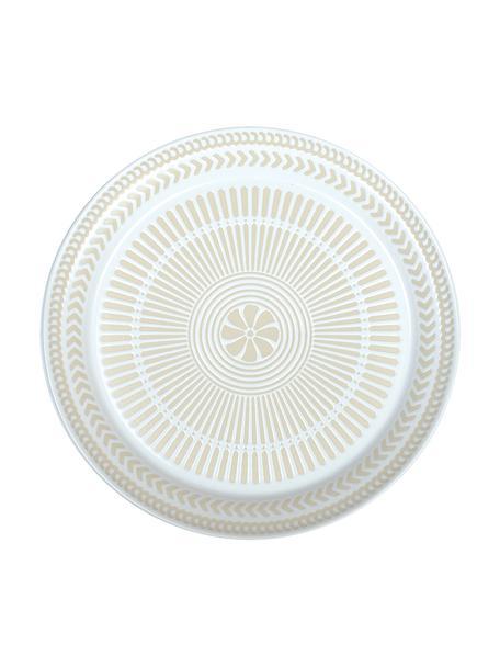 Piatto piano in porcellana con interno fantasia Sonia 2 pz, Porcellana, Bianco, Ø 27 cm