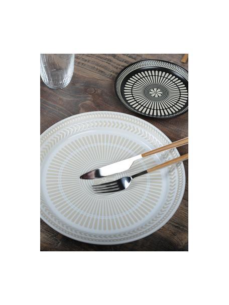 Porzellan-Speiseteller Sonia mit erhabener gemusterter Innenseite, 2 Stück, Porzellan, weiss, Ø 27 cm