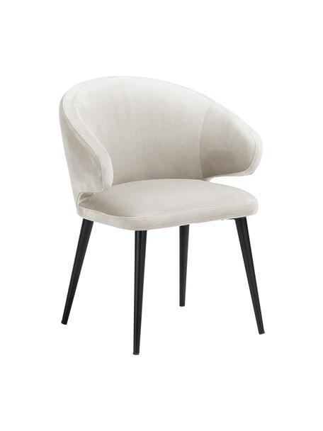 Sedia con braccioli moderna in velluto Celia, Rivestimento: velluto (poliestere) Il r, Gambe: metallo verniciato a polv, Velluto beige, Larg. 57 x Prof. 62 cm