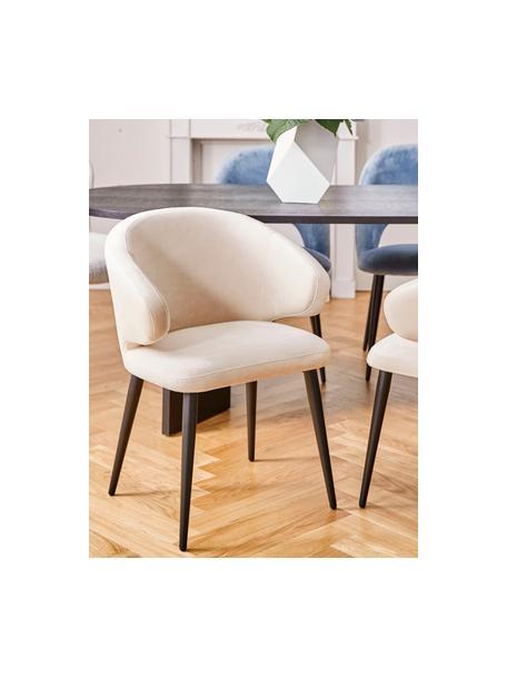 Fluwelen armstoel Celia in modern design, Bekleding: fluweel (polyester), Poten: gepoedercoat metaal, Fluweel beige, B 57 x D 62 cm