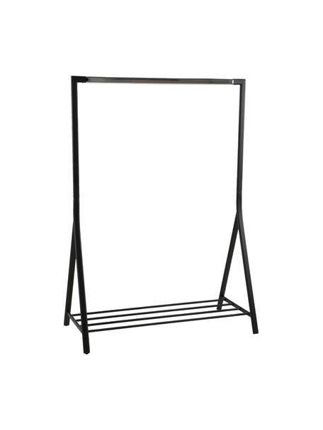 Schwarze Kleiderstange Brent mit Ablagefläche, Metall, pulverbeschichtet, Schwarz, B 117 x T 59 cm