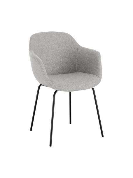 Sedia con braccioli e gambe in metallo Fiji, Rivestimento: poliestere Con 40.000 cic, Gambe: metallo verniciato a polv, Tessuto grigio chiaro, nero, Larg. 58 x Prof. 56 cm