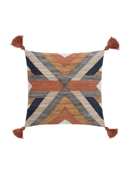 Funda de cojín texturiza con borlas Nouria, estilo étnico, Parte delantera: 100%poliéster, Parte trasera: 100%algodón, Multicolor, An 50 x L 50 cm