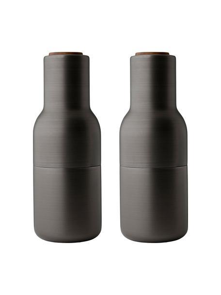 Designer zout- en pepermolenmolen in antraciet met deksel van walnoothout, Frame: vermessingd en geborsteld, Deksel: walnoothout, Antraciet, Ø 8 x H 21 cm