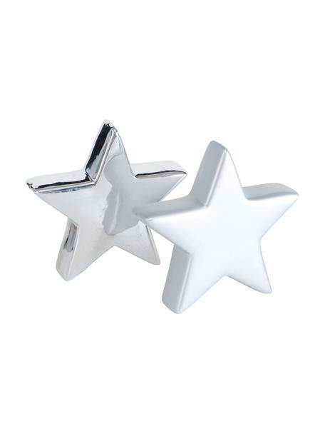 Decoratieve sterren Glimmy in zilverkleur H 14 cm, 2 stuks, Keramiek, Zilverkleurig, 17 x 11 cm