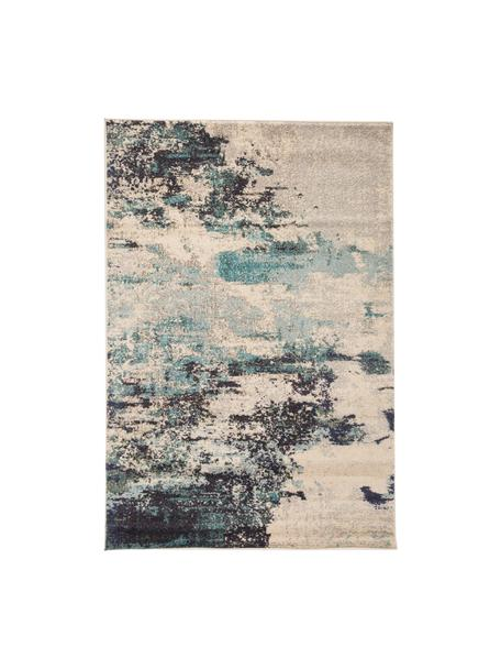 Designteppich Celestial in Blau-Creme, Flor: 100% Polypropylen, Elfenbeinfarben, Blautöne, B 120 x L 180 cm (Größe S)