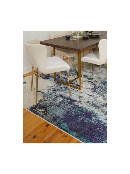 Tappeto di design color blu-crema Celestial, Retro: juta, Avorio, tonalità blu, Larg. 120 x Lung. 180 cm (taglia S)