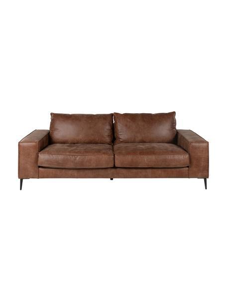 Leren bank Brett (3-zits) in bruin in industrieel design, Bekleding: glad runderleer, Frame: gelakt aluminium, Leer bruintinten, B 215 x D 90 cm