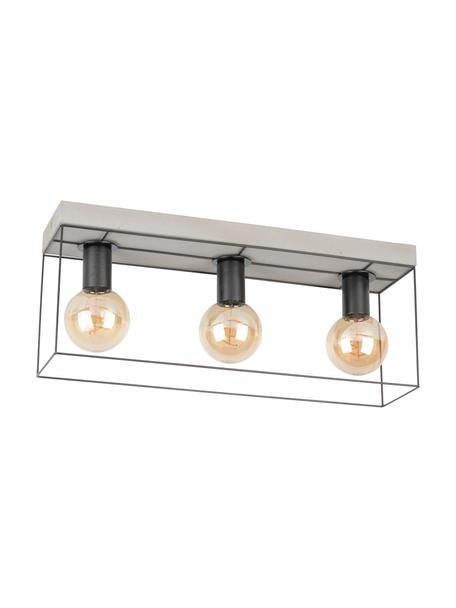 Plafondlamp Gretter van beton, Baldakijn: beton, Wit, zwart, 55 x 23 cm