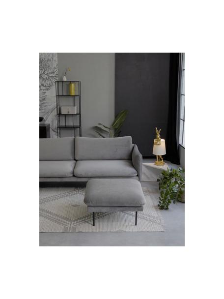 Poggiapiedi da divano in velluto grigio Moby, Rivestimento: velluto (copertura in pol, Struttura: legno di pino massiccio, Piedini: metallo verniciato a polv, Velluto grigio, Larg. 78 x Alt. 48 cm