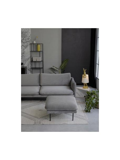 Sofa-Hocker Moby aus Samt in Grau mit Metall-Füßen, Bezug: Samt (Hochwertiger Polyes, Gestell: Massives Kiefernholz, Füße: Metall, pulverbeschichtet, Samt Grau, 78 x 48 cm