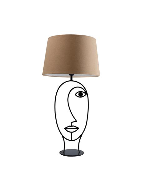 Duża lampa stołowa Face Nature, Stelaż: stal malowana proszkowo, Beżowy, czarny, S 35 x W 69 cm
