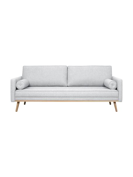 Sofa z nogami z drewna dębowego Saint (3-osobowa), Tapicerka: poliester Dzięki tkaninie, Jasny szary, S 210 x W 70 cm