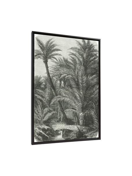 Ingelijste digitale print Bamidele, Lijst: gecoat MDF, Afbeelding: canvas, Groen, beige, 60 x 90 cm