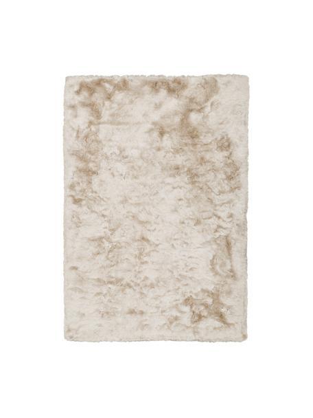 Glanzend hoogpolig vloerkleed Jimmy in ivoorkleur, Bovenzijde: 100% polyester, Onderzijde: 100% katoen, Ivoorkleurig, B 120 x L 180 cm (maat S)