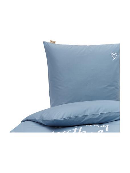 Baumwoll-Bettwäsche Smile with Love mit Schriftzug, Webart: Renforcé Fadendichte 144 , Blau, Weiß, 135 x 200 cm + 1 Kissen 80 x 80 cm