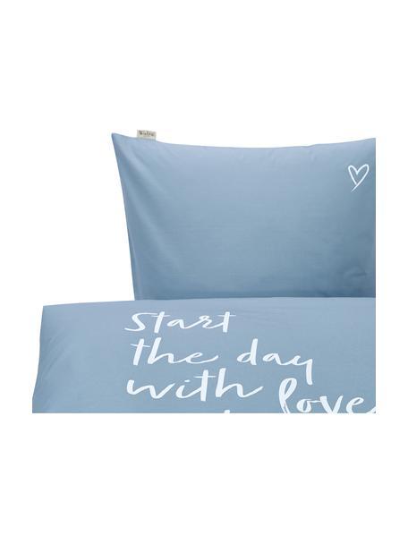 Baumwoll-Bettwäsche Smile with Love mit Schriftzug, Webart: Renforcé Fadendichte 144 , Blau, Weiss, 135 x 200 cm + 1 Kissen 80 x 80 cm