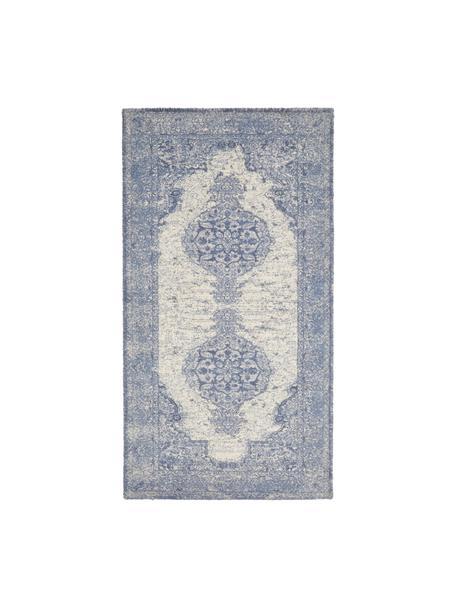 Tappeto vintage in nylon e cotone Elegant, Retro: 100% cotone, Blu, Larg. 80 x Lung. 150 cm (taglia XS)