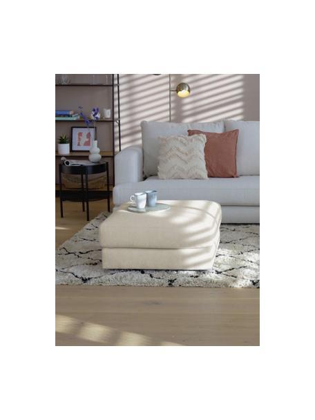 Poggiapiedi da divano in tessuto beige scuro Tribeca, Rivestimento: 100% poliestere Il rivest, Struttura: legno massiccio di faggio, Piedini: legno massiccio di faggio, Tessuto beige scuro, Larg. 80 x Alt. 40 cm