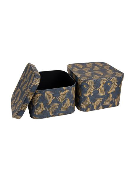 Aufbewahrungsboxen-Set Ludvig, 2-tlg., Fester, laminierter Karton, Goldfarben, Graublau, Set mit verschiedenen Grössen