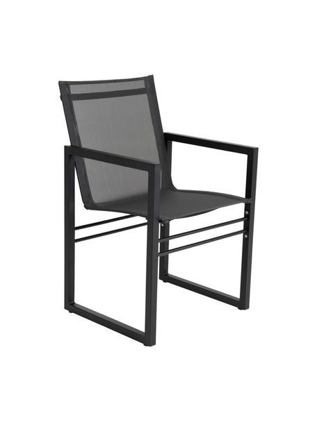 Tuinstoel Vevi in zwart, Frame: gepoedercoat aluminium, Zitvlak: Textilene, Zwart, 57 x 54 cm