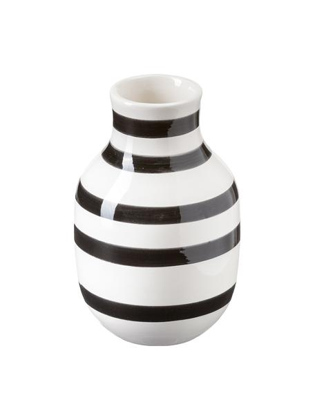 Kleine handgefertigte Design-Vase Omaggio, Keramik, Schwarz, Weiß, Ø 8 x H 13 cm