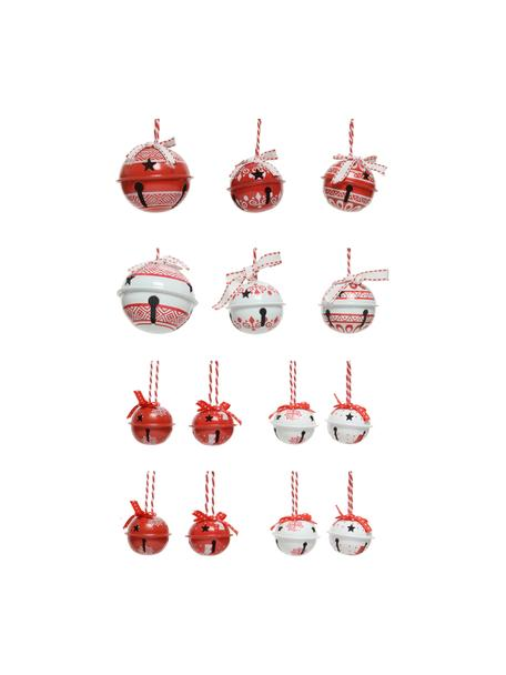 Set de adornos navideños Glocken, 14uds., Adornos: metal, Rojo, blanco, Set de diferentes tamaños