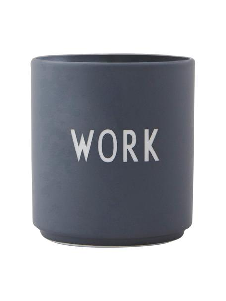 Taza de diseño Favourite WORK, Porcelana fina de hueso (porcelana) Fine Bone China es una pasta de porcelana fosfática que se caracteriza por su brillo radiante y translúcido., Gris, blanco, Ø 8 x Al 9 cm