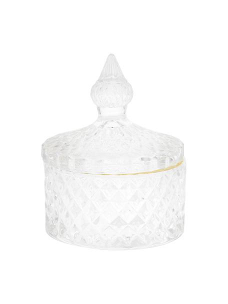 Contenitore con coperchio Freser, Bordo: metallo rivestito, Dorato trasparente, Ø 9 x Alt. 10 cm