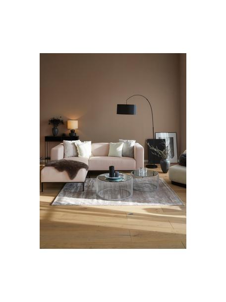 Sofa narożna z metalowymi nogami Carrie, Tapicerka: poliester 50 000 cykli w , Tapicerka: wyściółka z pianki na zaw, Nogi: metal lakierowany, Blady różowy, S 222 x G 180 cm