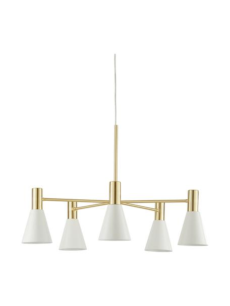 Grote hanglamp Sia van metaal, Lampenkappen: mat wit. Baldakijn en lampframe: geborsteld messingkleurig, Ø 75  x H 14 cm