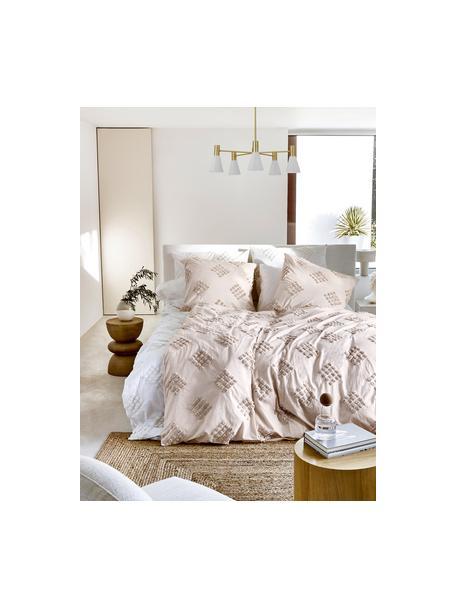 Lámpara de techo grande de metal Sia, Cable: cubierto en tela, Blanco, latón cepillado, Ø 75 x Al 14 cm