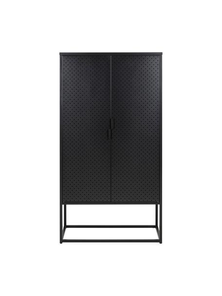 Credenza alta in metallo nero Neptun, Metallo rivestito, Nero, Larg. 80 x Alt. 150 cm