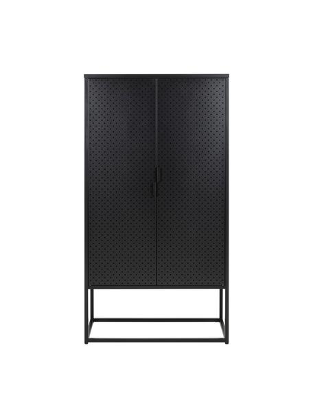 Metalen kast Newton in zwart, Gecoat metaal, Zwart, 80 x 150 cm