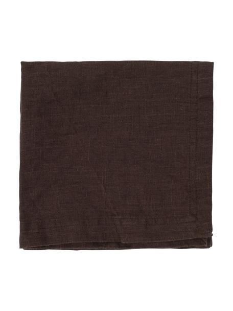 Linnen servetten Basic, 2 stuks, Linnen, Donkerbruin, 35 x 35 cm