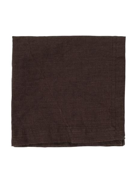 Serwetka z lnu Basic, 2 szt., Len, Ciemny brązowy, S 35 x D 35 cm