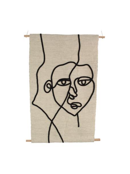 Wandobject Face, Katoen, hout, Beige, zwart, 70 x 110 cm