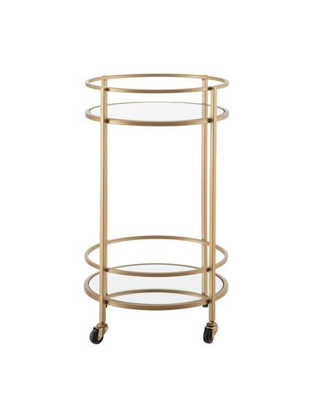 Camarera redonda Camarera, Estructura: metal pintado, Estantes: espejo de cristal, Latón, Ø 43 x Al 70 cm