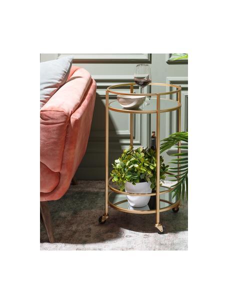 Ronde barcart Camarera goudkleurig, Frame: gelakt metaal, Plateaus: spiegelglas, Messingkleurig, Ø 43 x H 70 cm