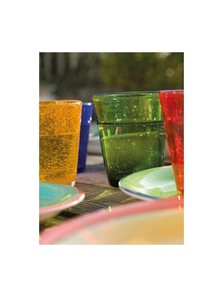 Mundgeblasene Wassergläser Cancun in Bunt mit Luftbläschen, 6er-Set, Glas, mundgeblasen, Mehrfarbig, Ø 9 x H 10 cm