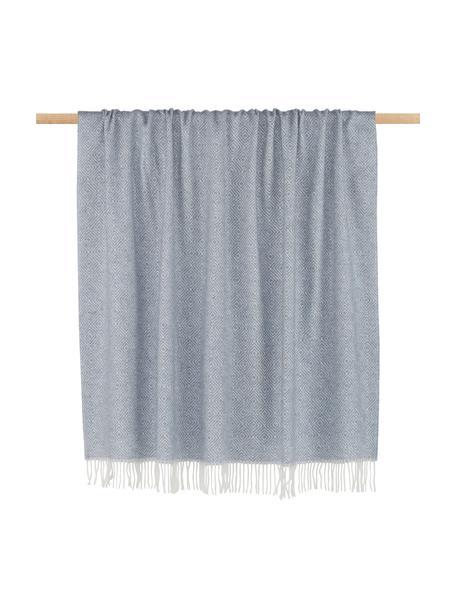 Wollen plaid Alison met fijn grafisch patroon, 80% wol, 20% acryl, Grijsblauw, gebroken wit, 140 x 200 cm