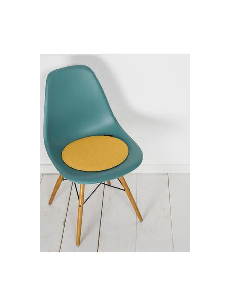 Ronde vilten stoelkussens Avaro, 4 stuks, Okergeel, Ø 35 x H 1 cm
