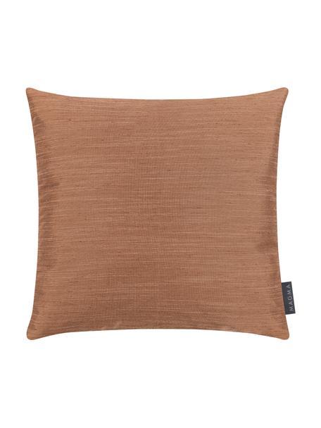 Kussenhoes Malu in zijdelook, 100% polyester, Bruin, 40 x 40 cm