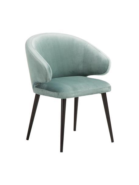 Sedia con braccioli moderna in velluto Celia, Rivestimento: velluto (poliestere) Con , Gambe: metallo verniciato a polv, Velluto color salvia, Larg. 57 x Prof. 62 cm