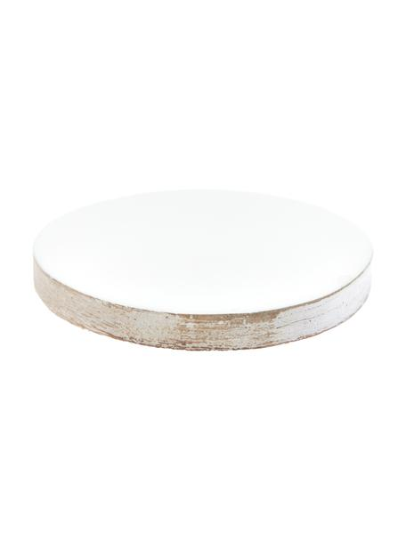 Sottobicchiere in legno di mango bianco Lugo 4 pz, Legno di mango rivestito, Bianco, legno di mango, Ø 10 x Alt. 2 cm