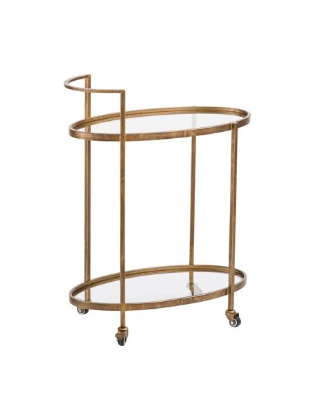 Bar cart Push Antic in vintage stijl, Frame: vermessingd metaal, Messingkleurig, transparant, 67 x 86 cm