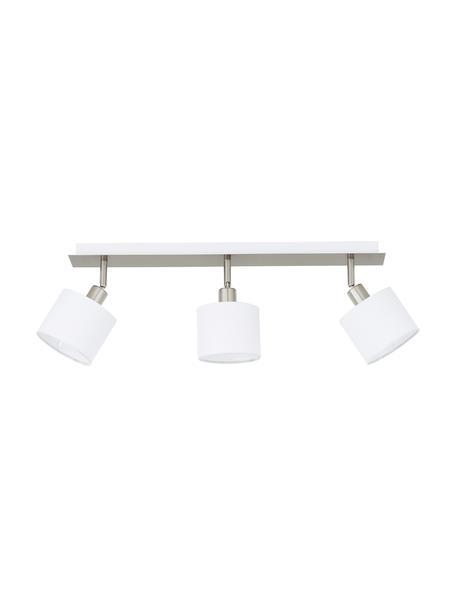 Faretti da soffitto Casper, Baldacchino: metallo nichelato, Paralume: tessuto, Argento, bianco, Larg. 56 x Alt. 7 cm