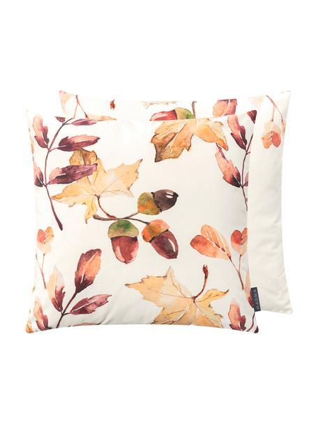 Fluwelen dubbelzijdige kussenhoes Eichel met herfstprint, 100% polyester fluweel, Crèmekleurig, rood- en bruintinten, 50 x 50 cm