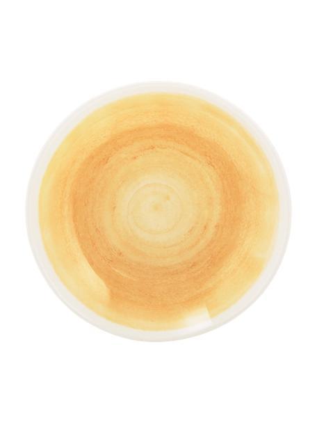 Handgemachte Suppenteller Pure matt/glänzend mit Farbverlauf, 6 Stück, Keramik, Gelb, Weiß, Ø 23 cm